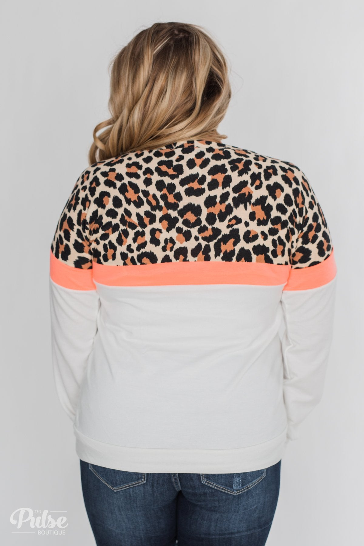 Cheerful in Leopard Color Block Top- Neon & Ivory