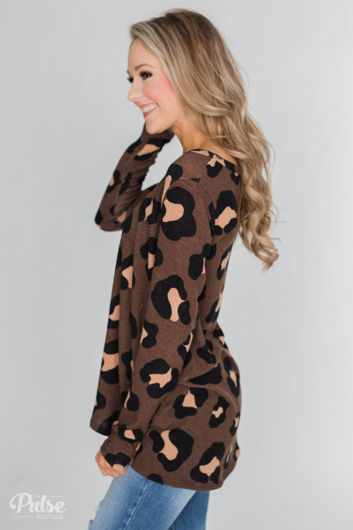 Leopard Print Long Sleeve Top- Brown