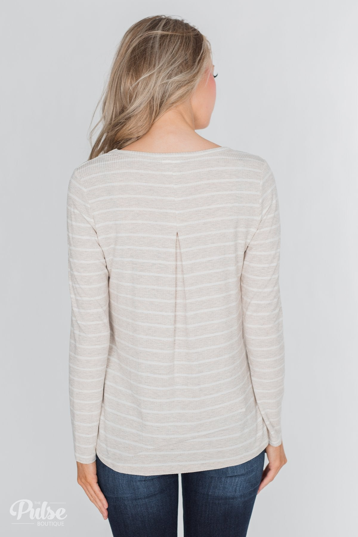 Never Forget You Pleated Striped Top- Oatmeal