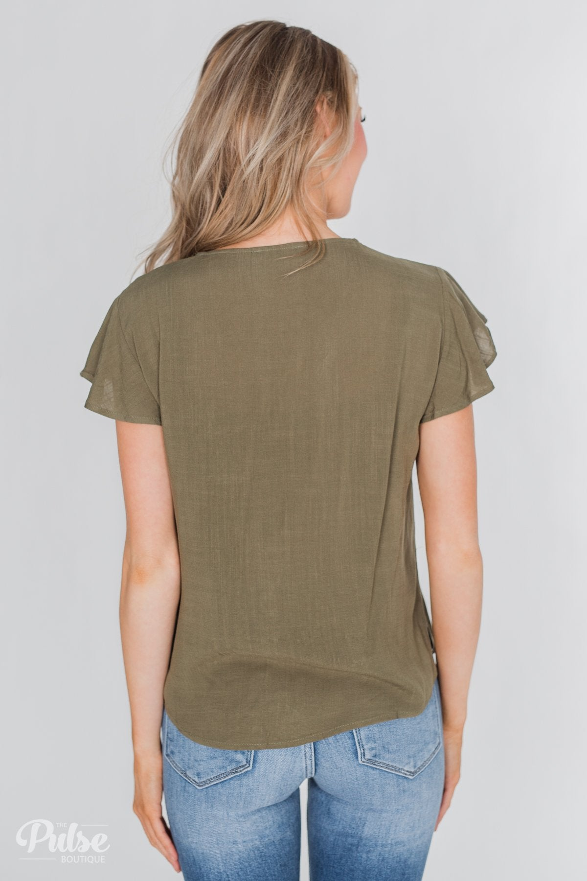 Believe in Me Button Down Top- Olive