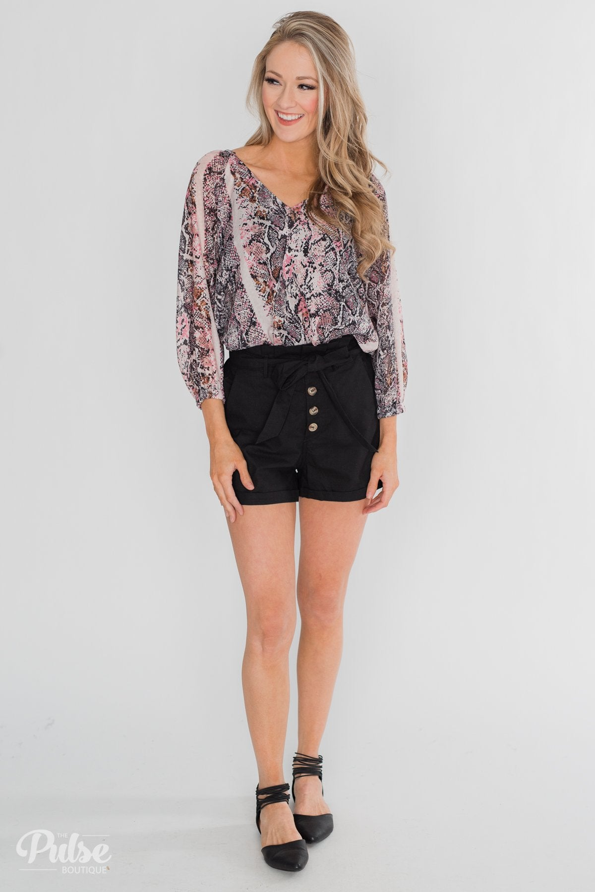 Button-Up Shorts- Black