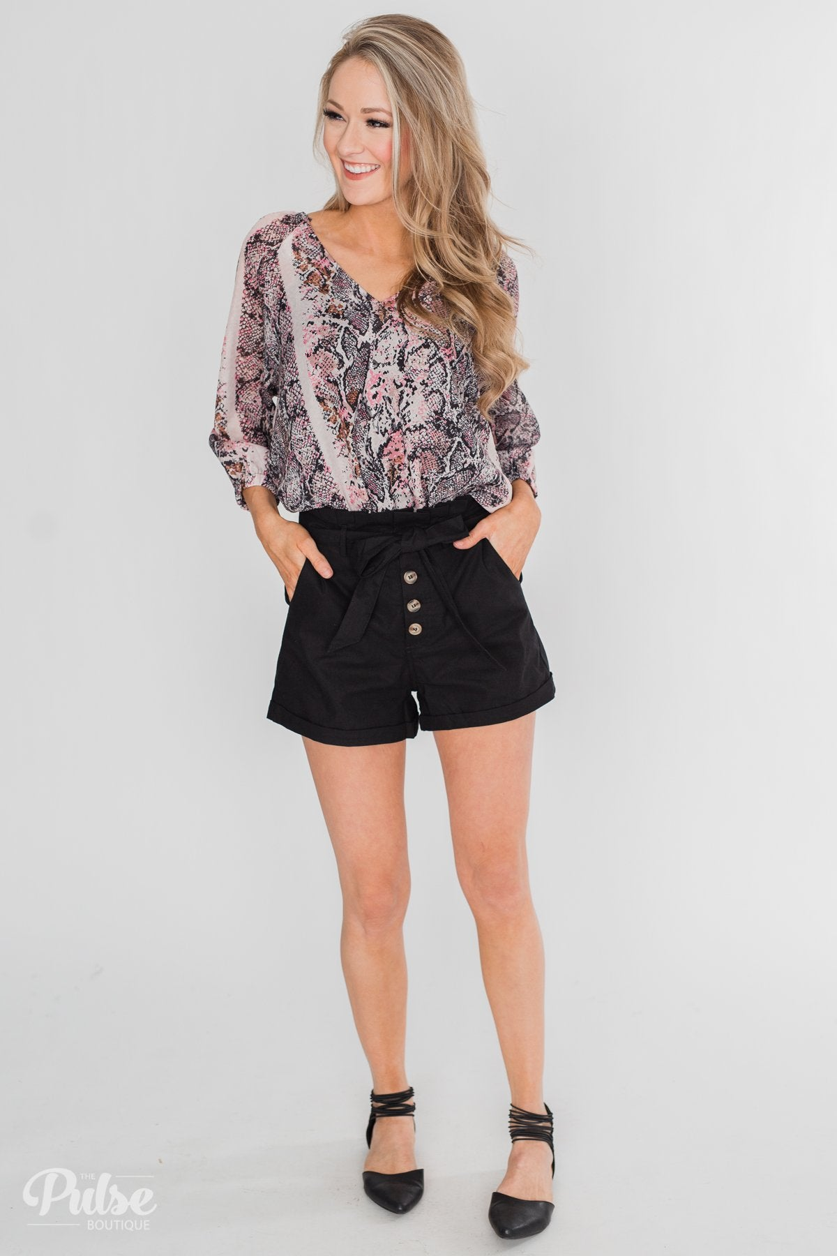 Chic & Untamed V-Neck Printed Blouse- Pink & Black