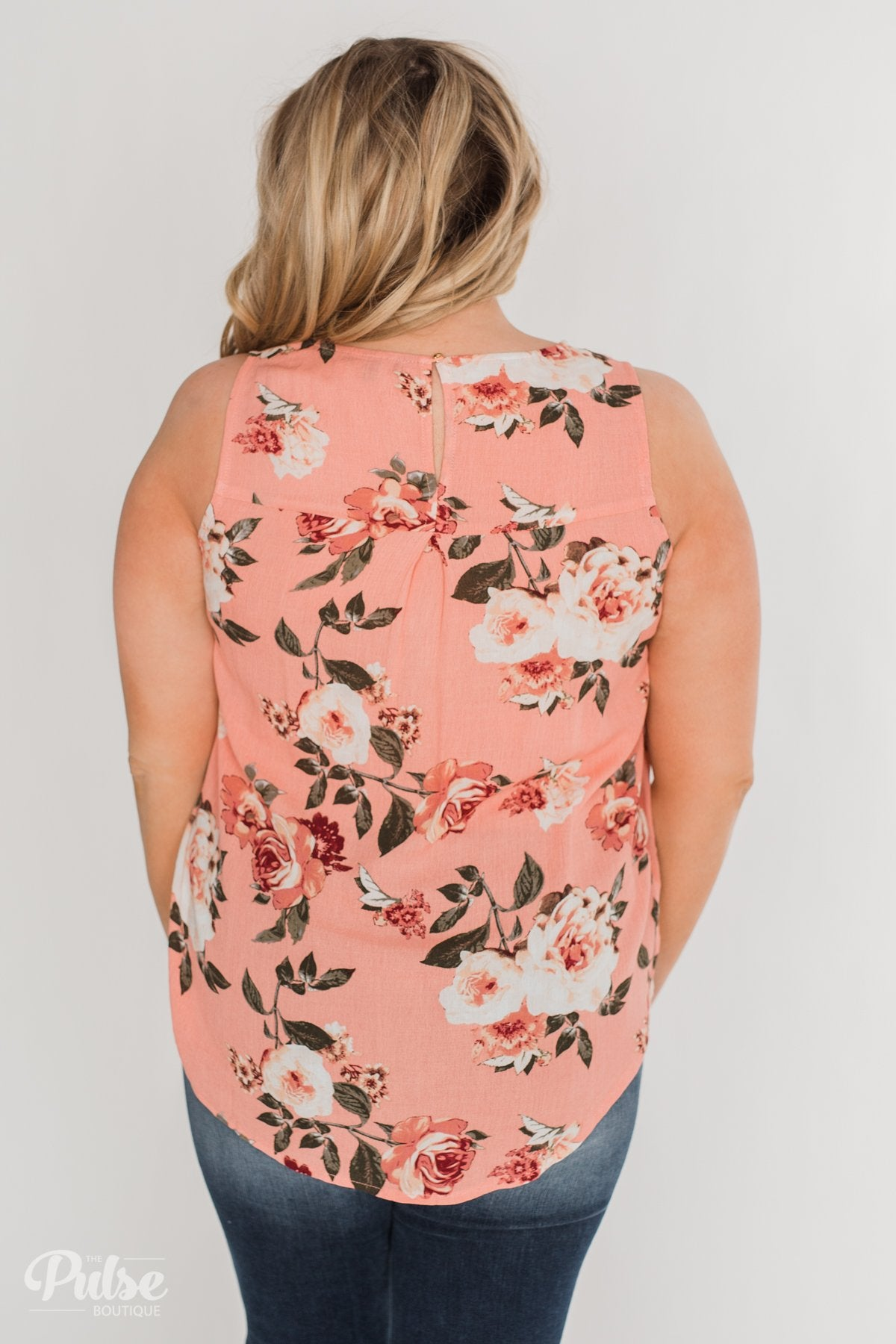 Fun in Floral Tie Tank Top - Peach