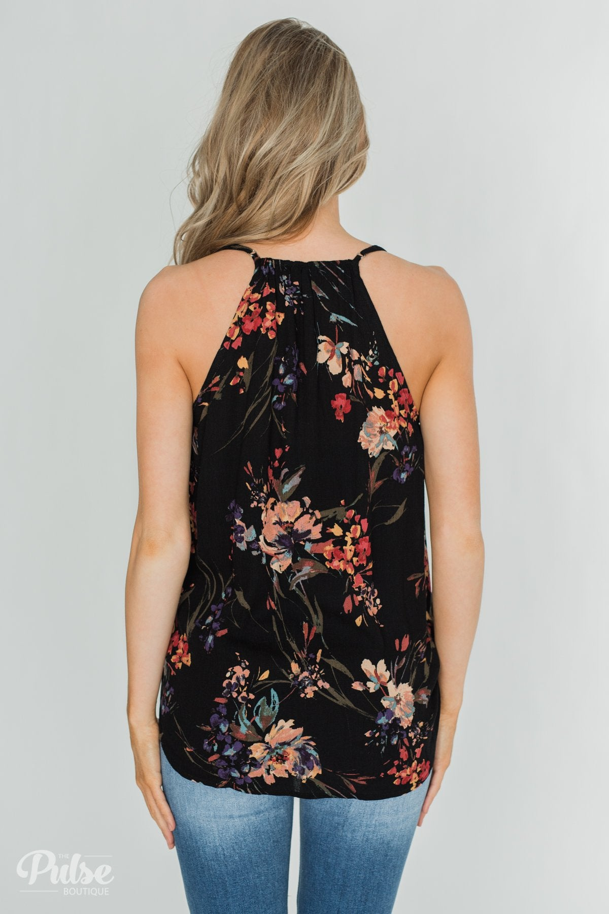Beginning to Blossom Floral Tank Top - Black