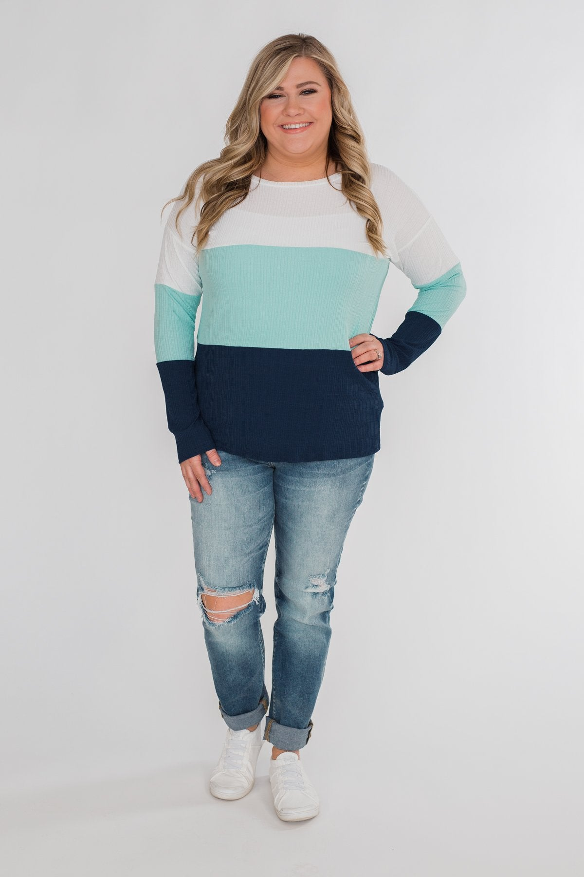 Take The Next Step Long Sleeve Color Block Top- Blue