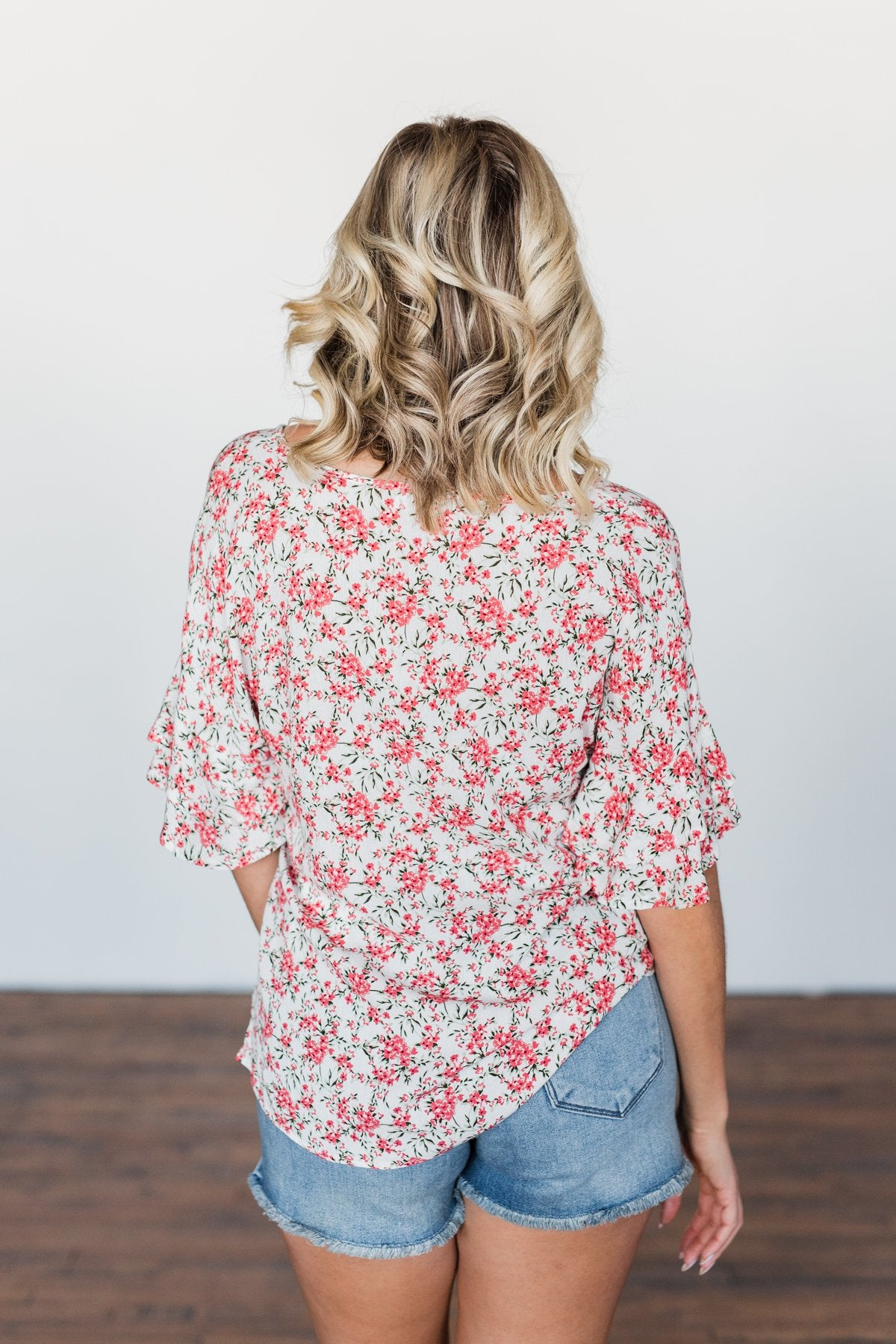 In The Sunshine Floral Ruffle Top- Ivory