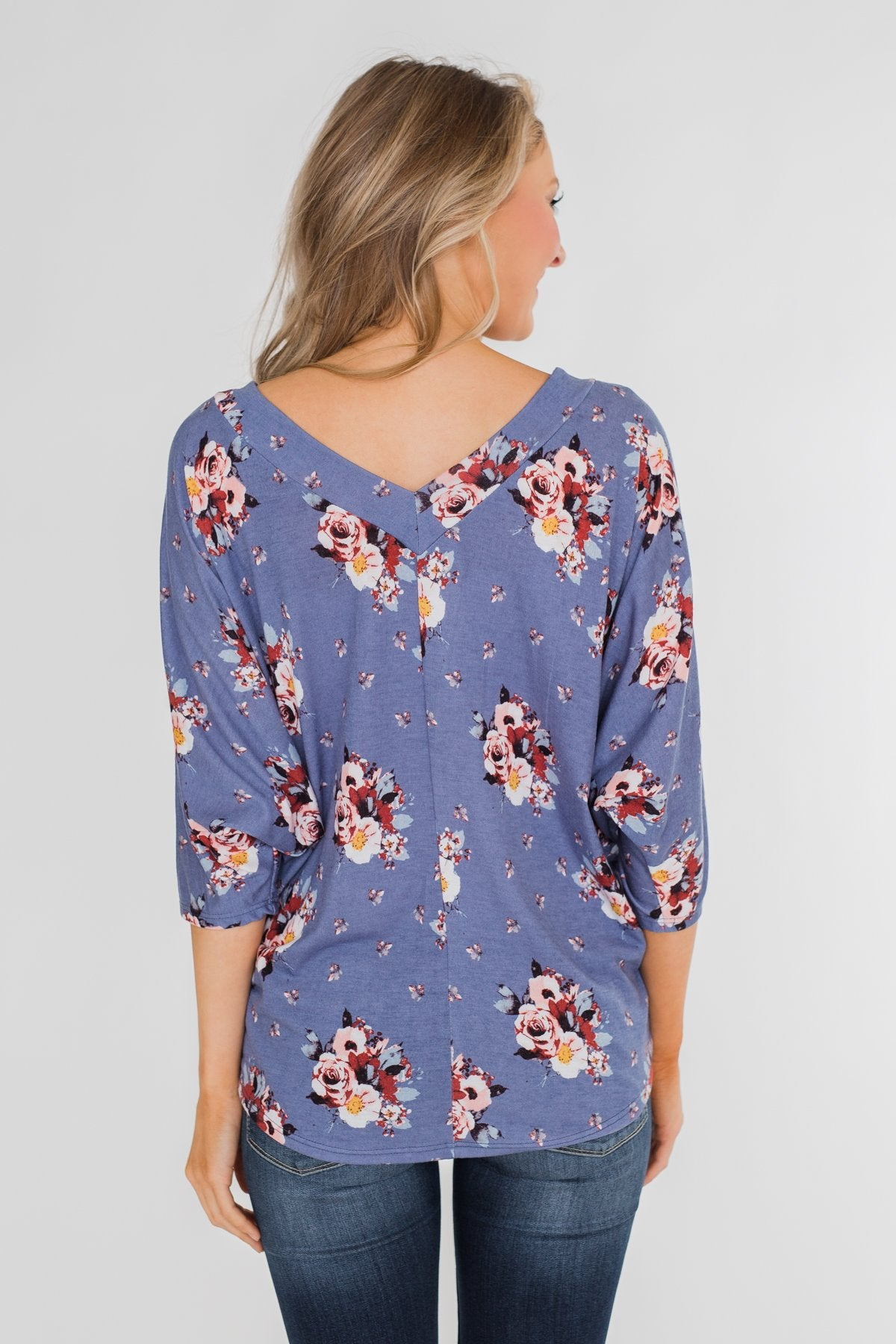 Floral Enchantment Dolman Top- Blue