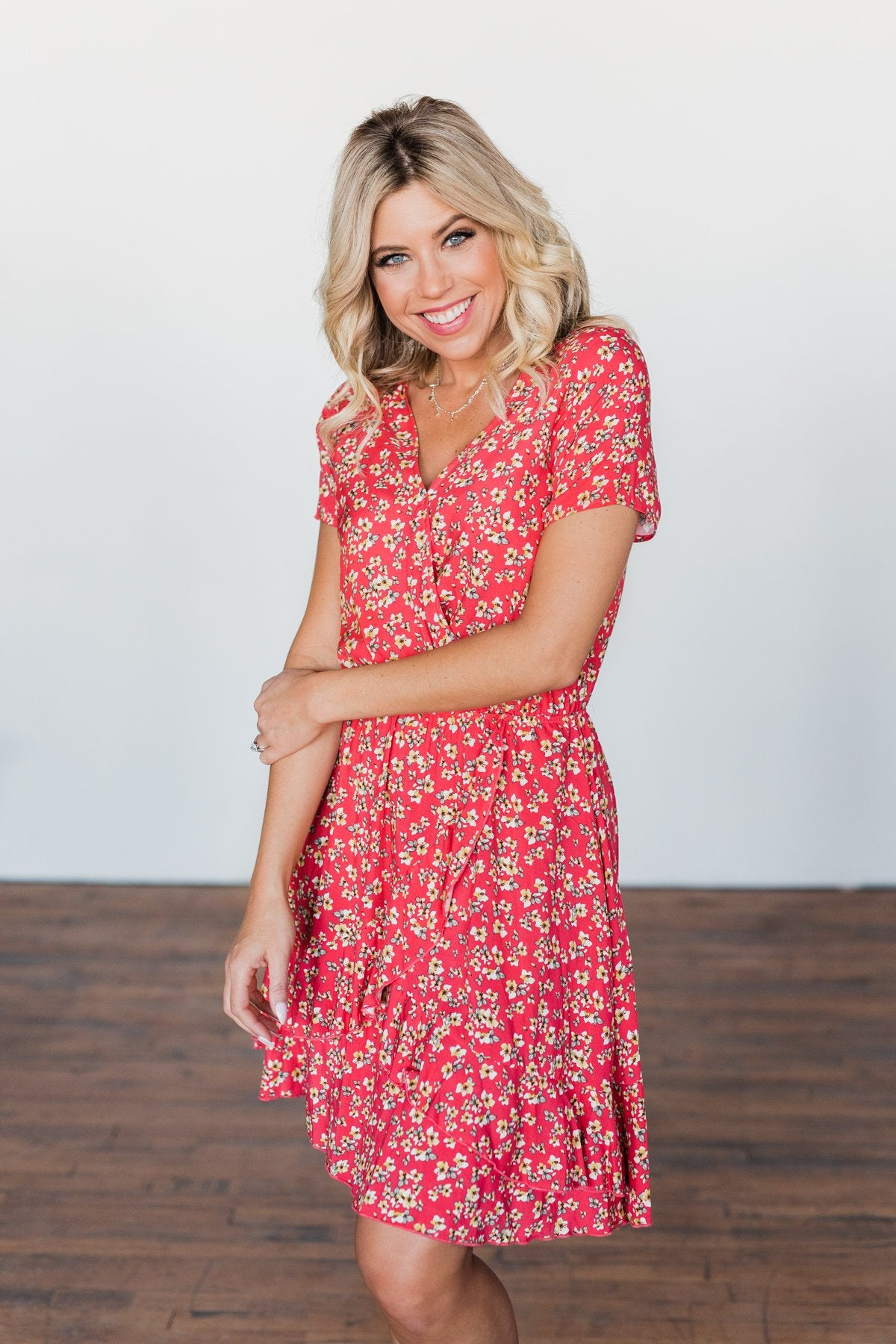 Spring Anticipation Floral Wrap Dress- Coral