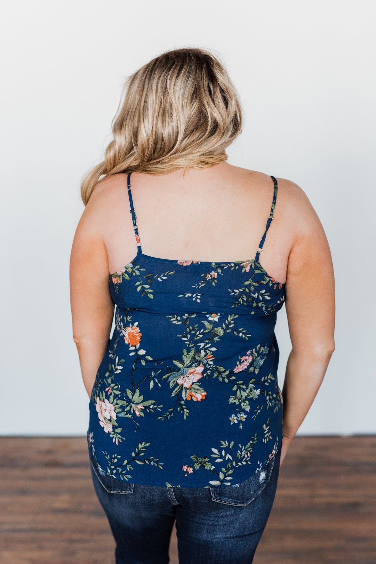 Take A Risk Floral Tank Top- Navy