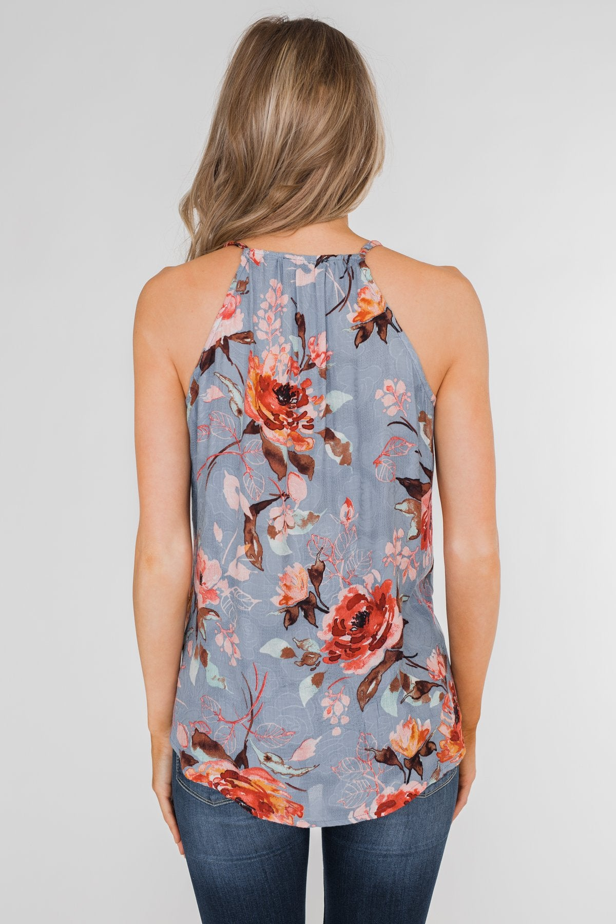 Dreaming of Floral Ruffle Tank Top - Light Steel Blue