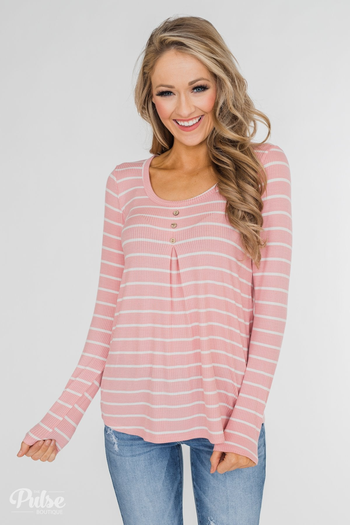 Never Forget You Pleated Striped Top- Pink