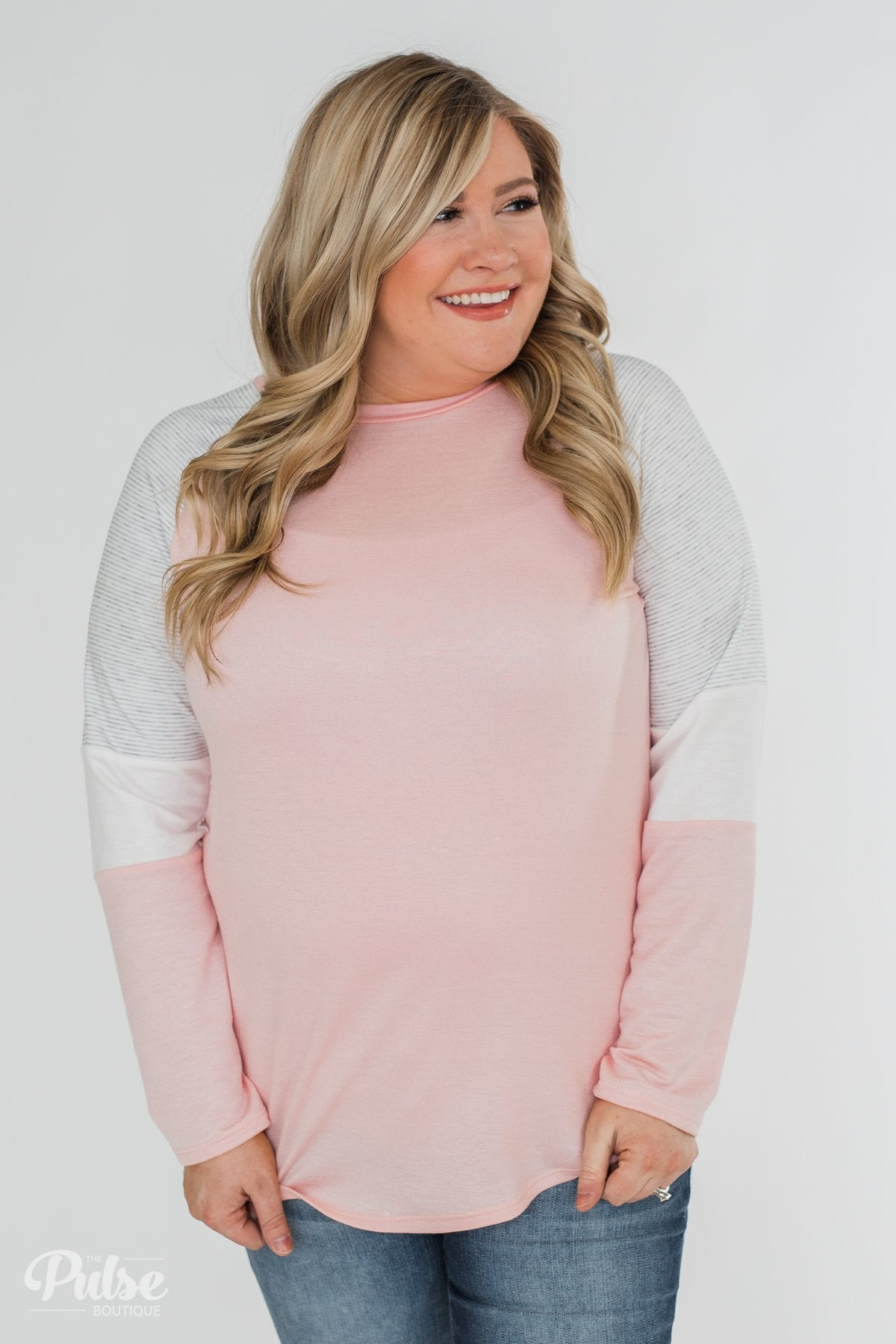 Leave it to Me Color Block Sleeve Top- Pink