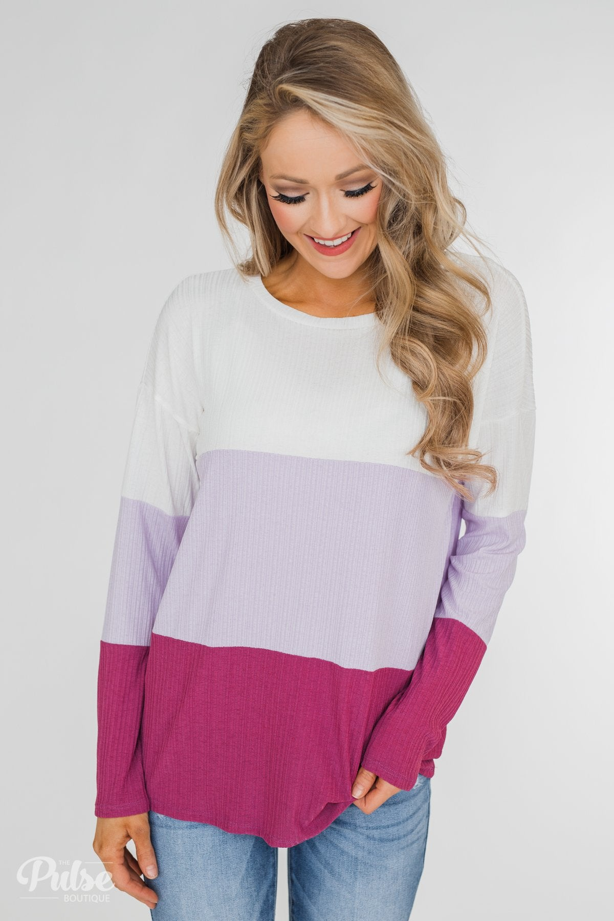Take The Next Step Long Sleeve Color Block Top- Purple