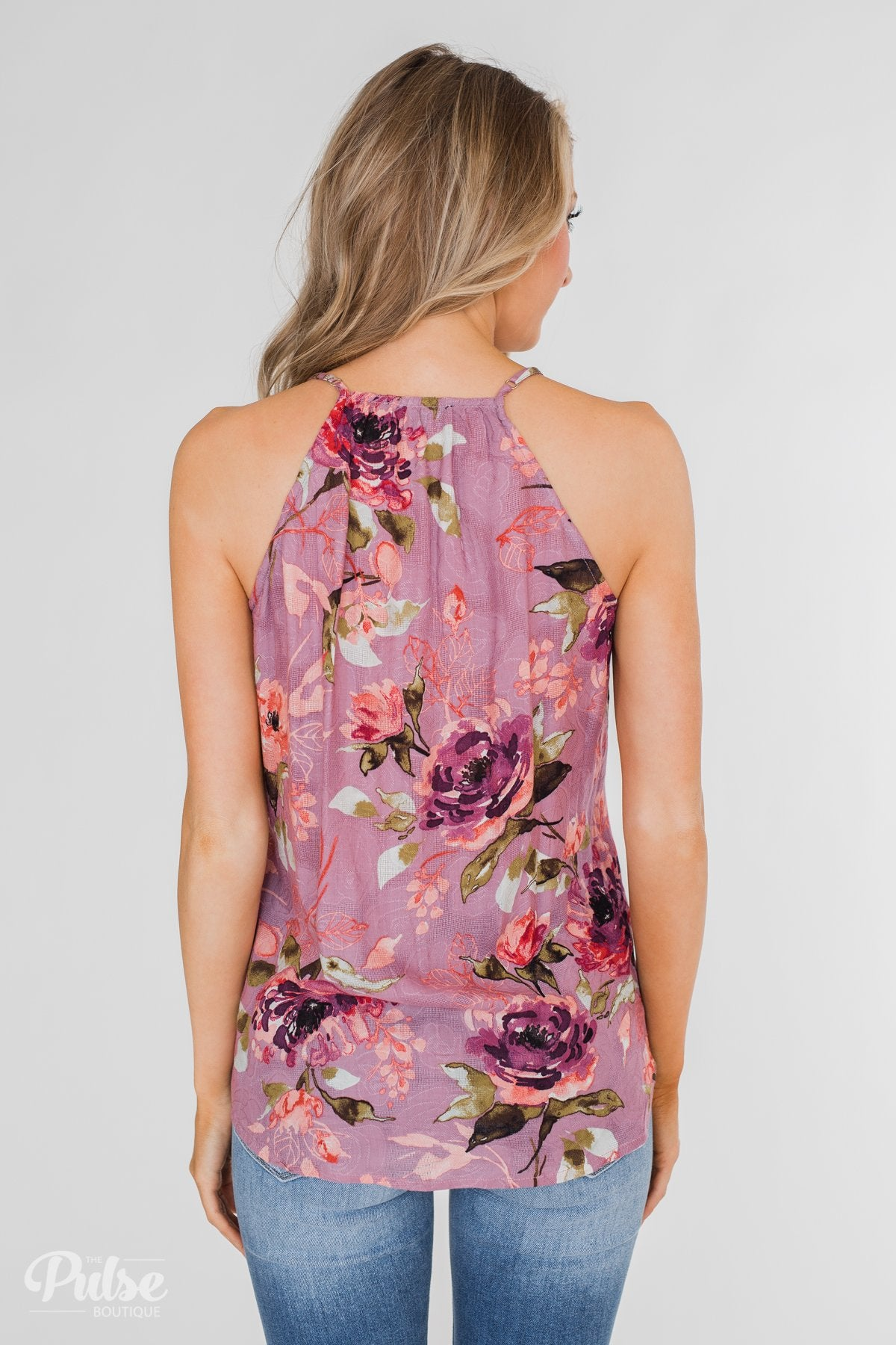Dreaming of Floral Ruffle Tank Top - Orchid