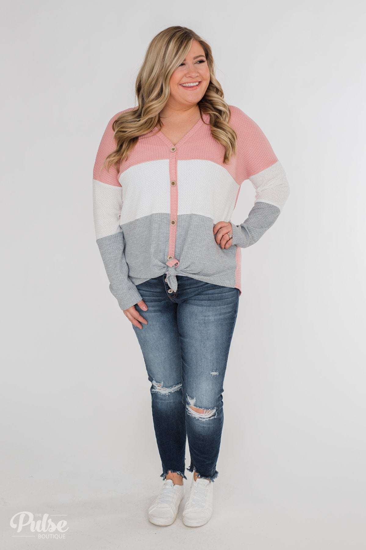Let It Be Color Block Thermal Top- Pink & Grey