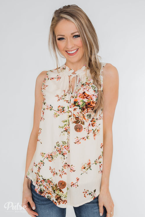 I'll Be There Floral Neck Tie Tank Top- Ivory