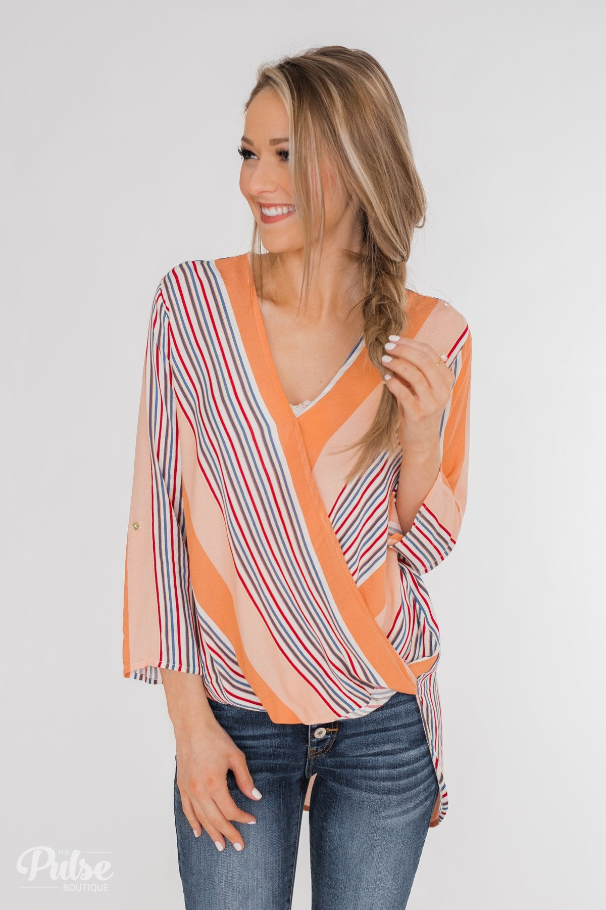 Outstanding Appearance Striped Wrap Top- Peach