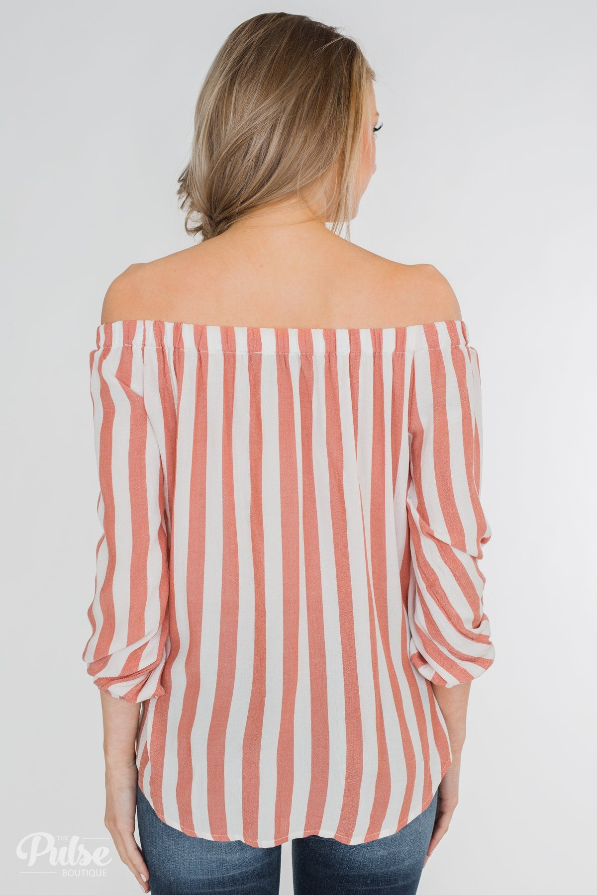 Warmer Weather Off The Shoulder Striped Top- Light Salmon