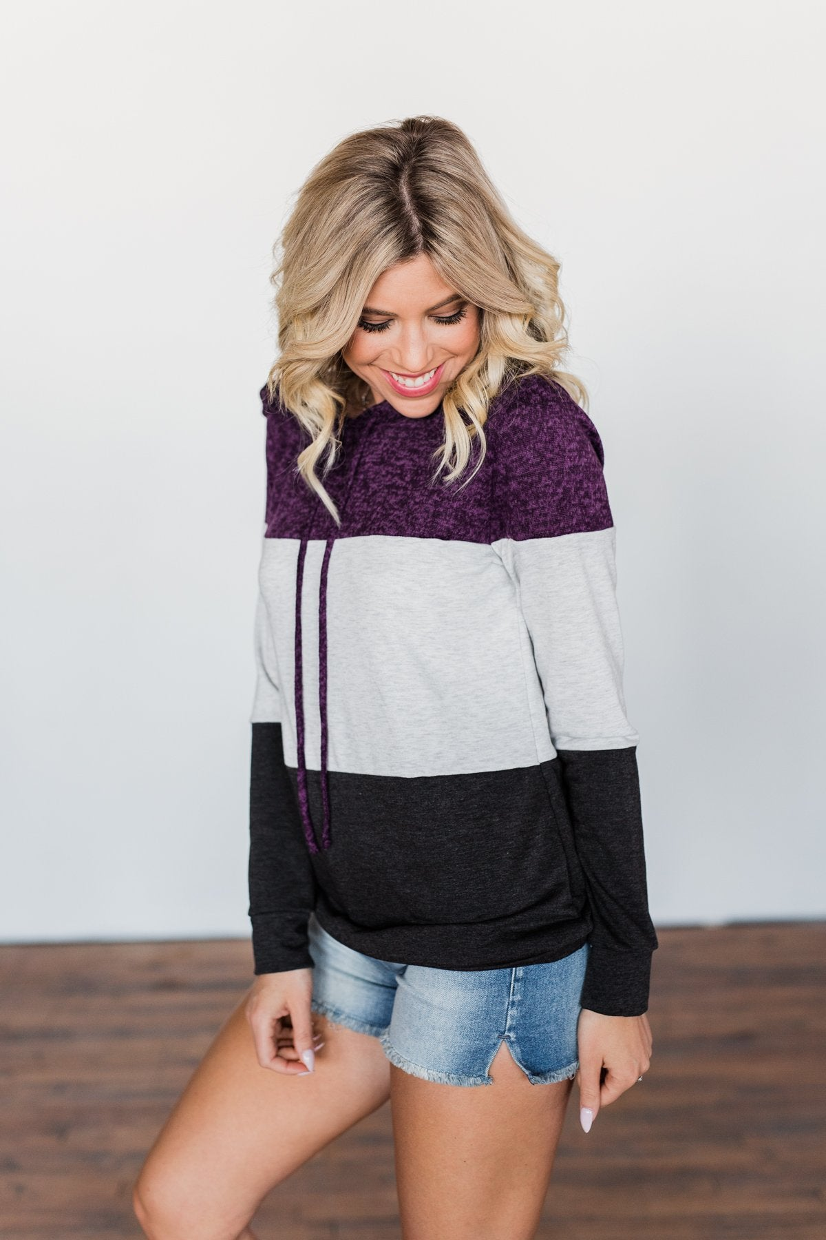 It Just Might Be Color Block Hoodie- Eggplant & Charcoal