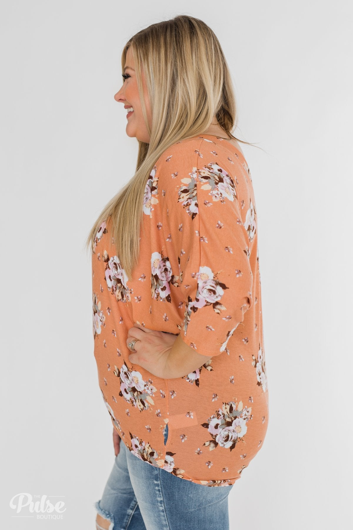 Floral Enchantment Dolman Top- Apricot