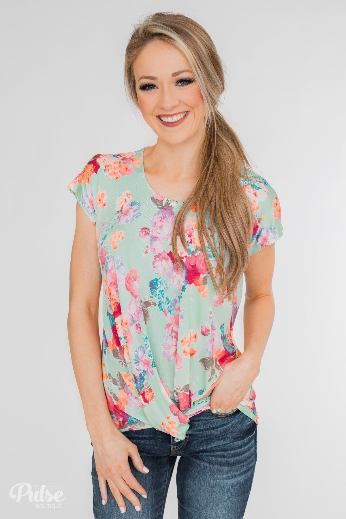 Coral Floral Knot Top- Mint