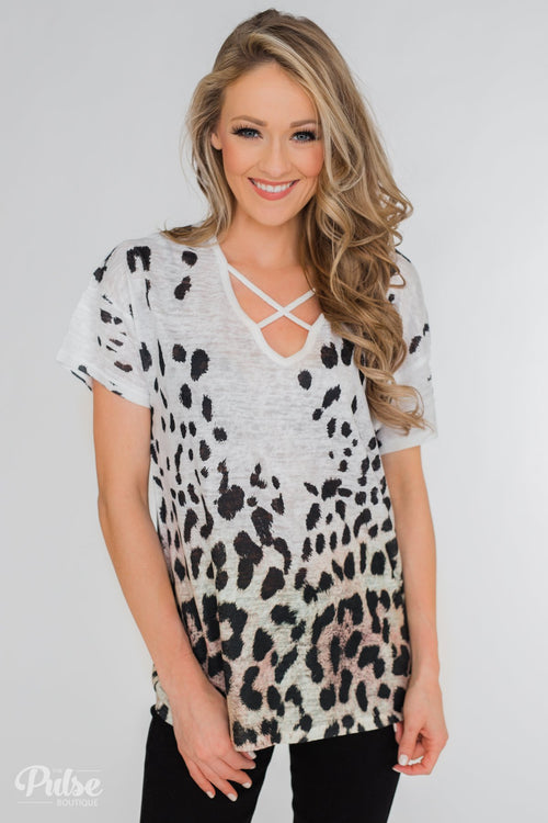 Crossing into Leopard Territory Top- White