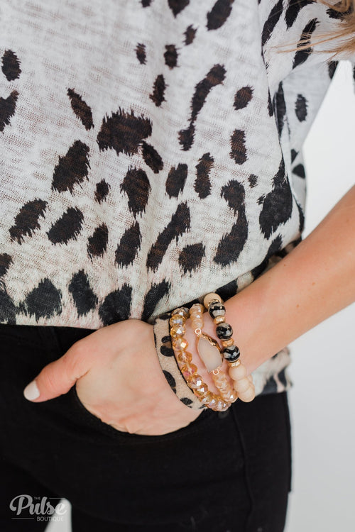 Geo Stone & Leopard Beaded Bracelet Set- Neutral