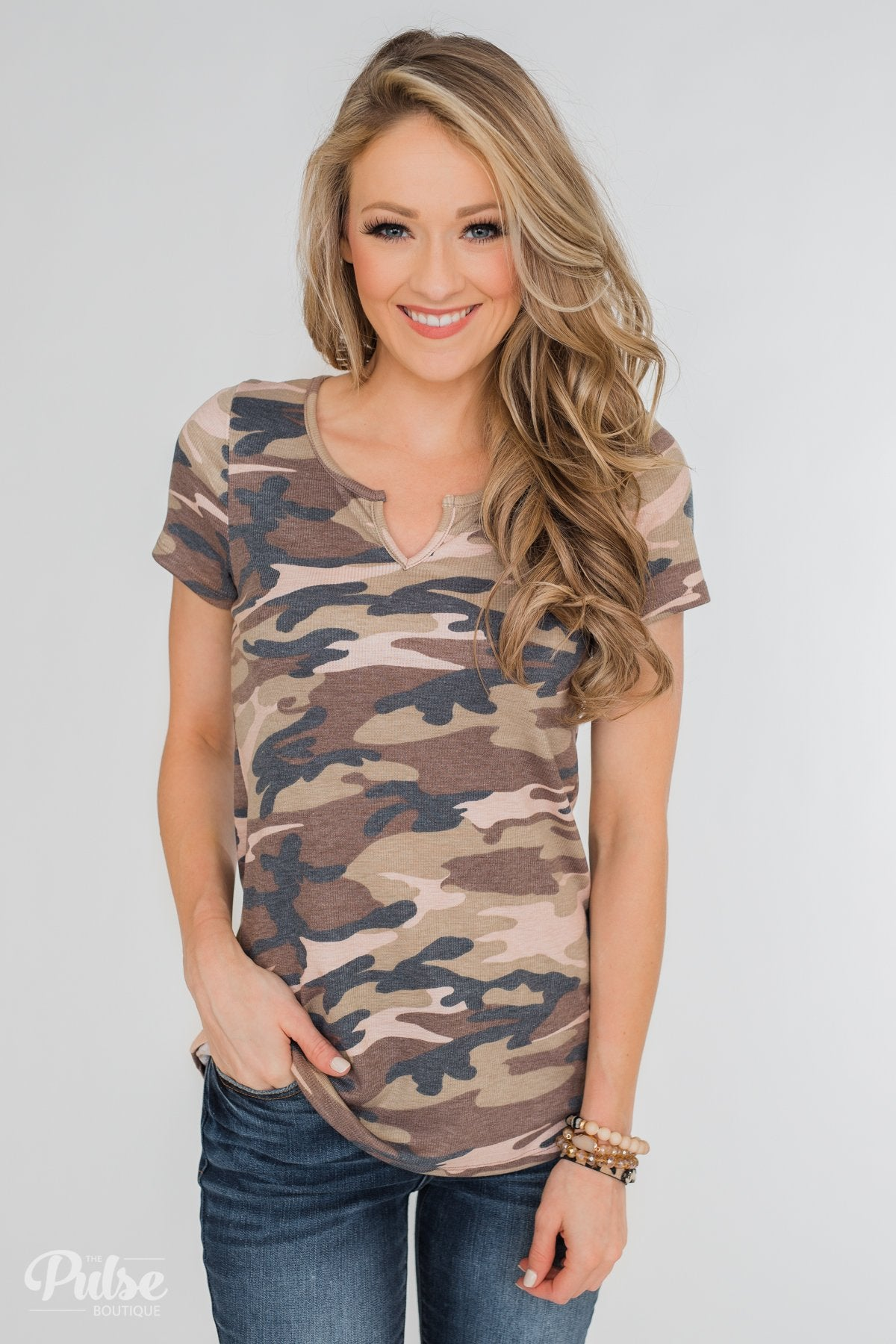 Casual in Camo Short Sleeve Top