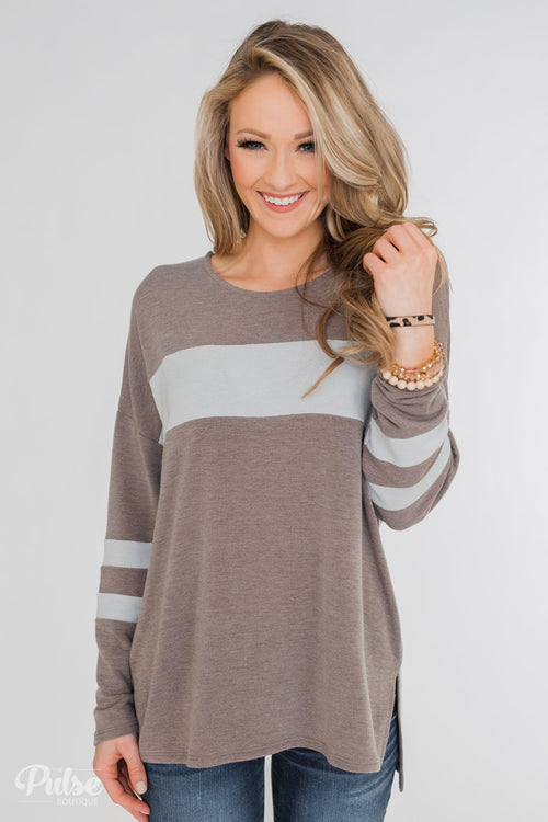Stages of Comfort Varsity Stripe Sleeve Top- Mocha