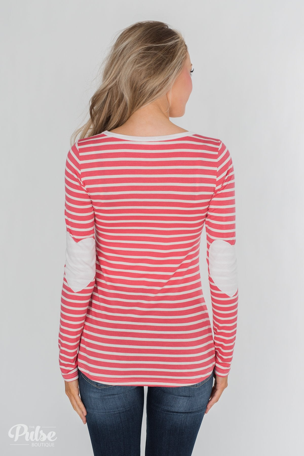 Forever Mine Heart Elbow Patch Top - Raspberry Pink