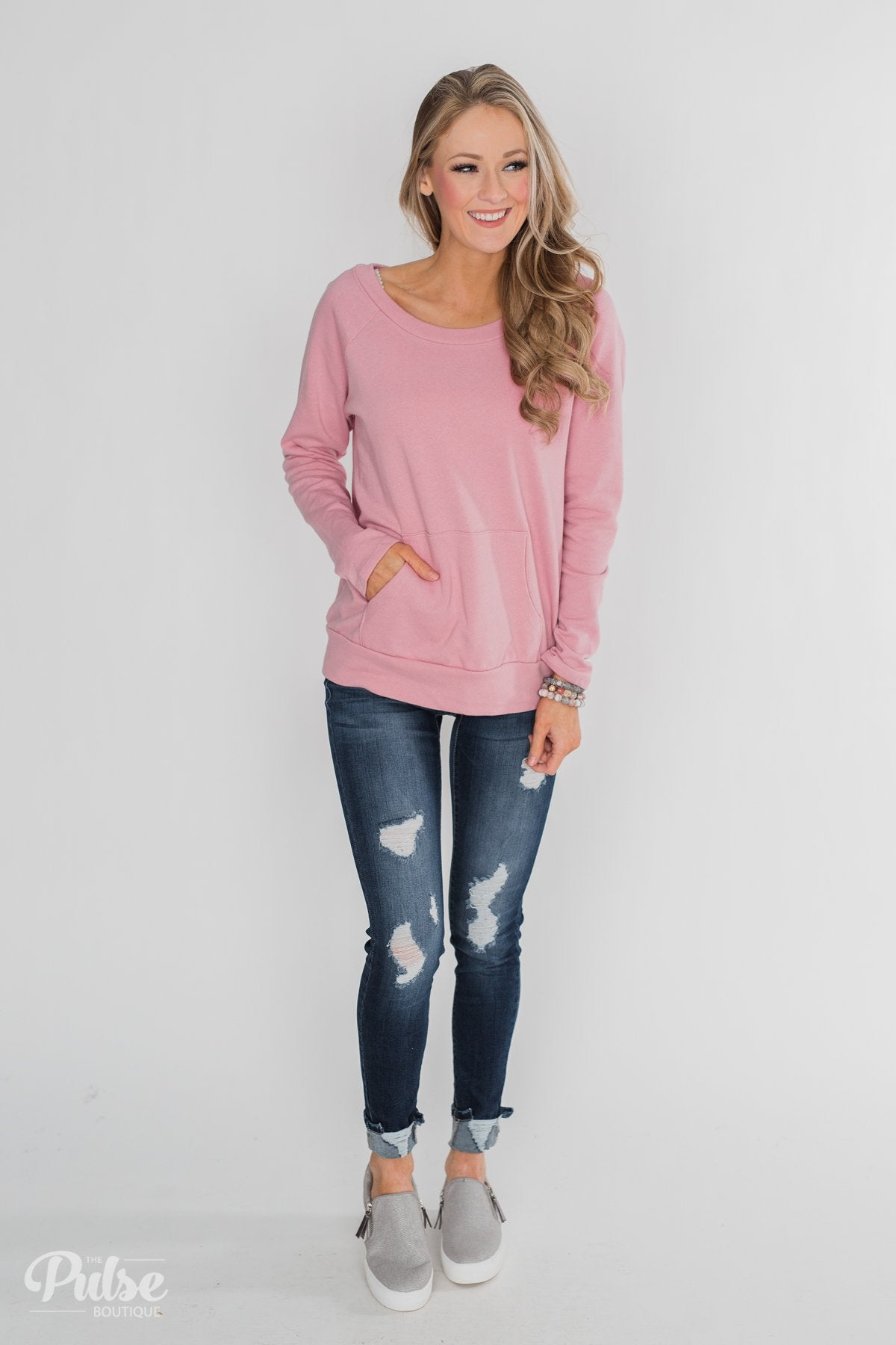 Pocket Pullover Top - Dusty Pink