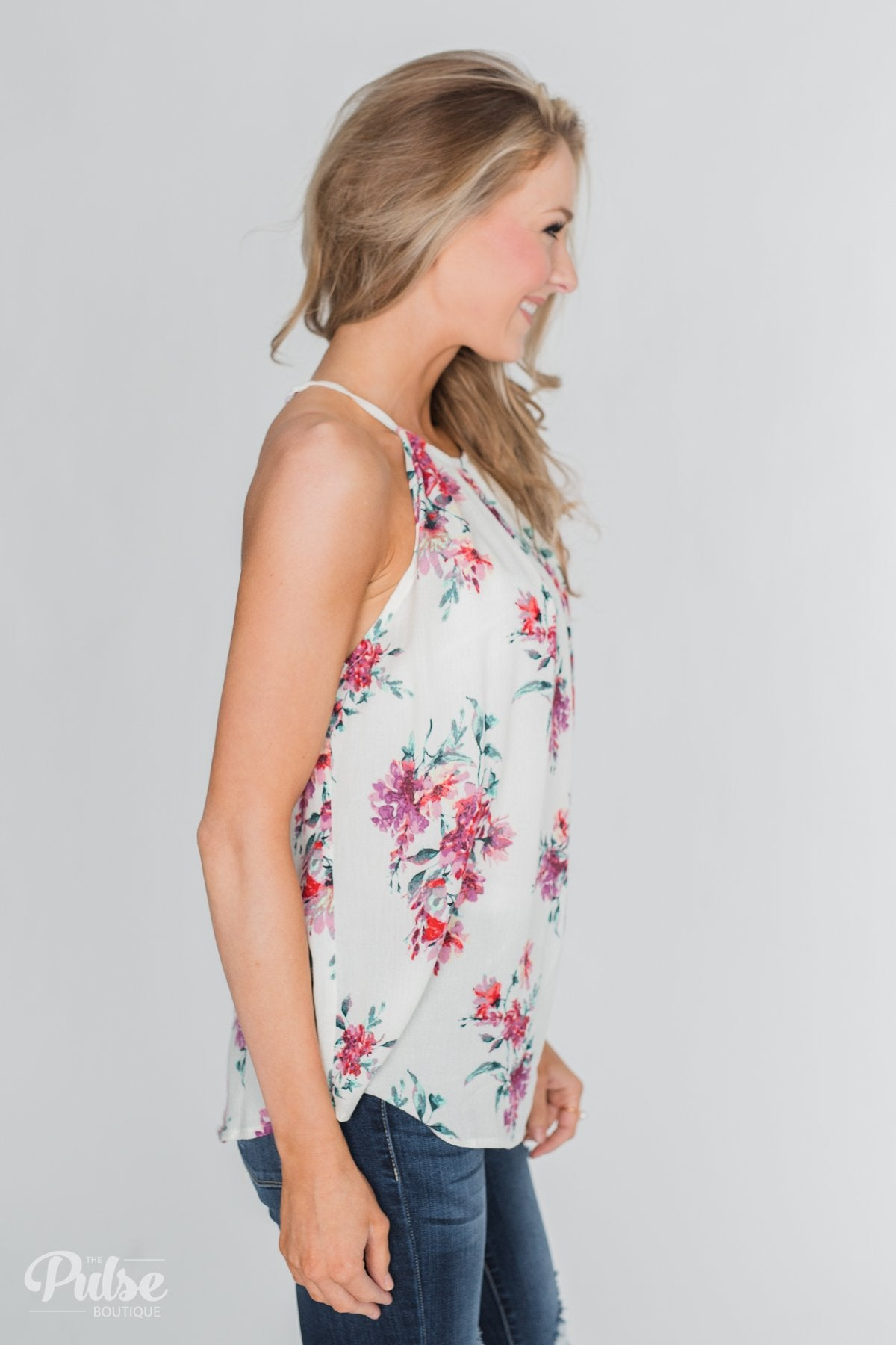 Embrace the Floral Halter Tank Top- Ivory