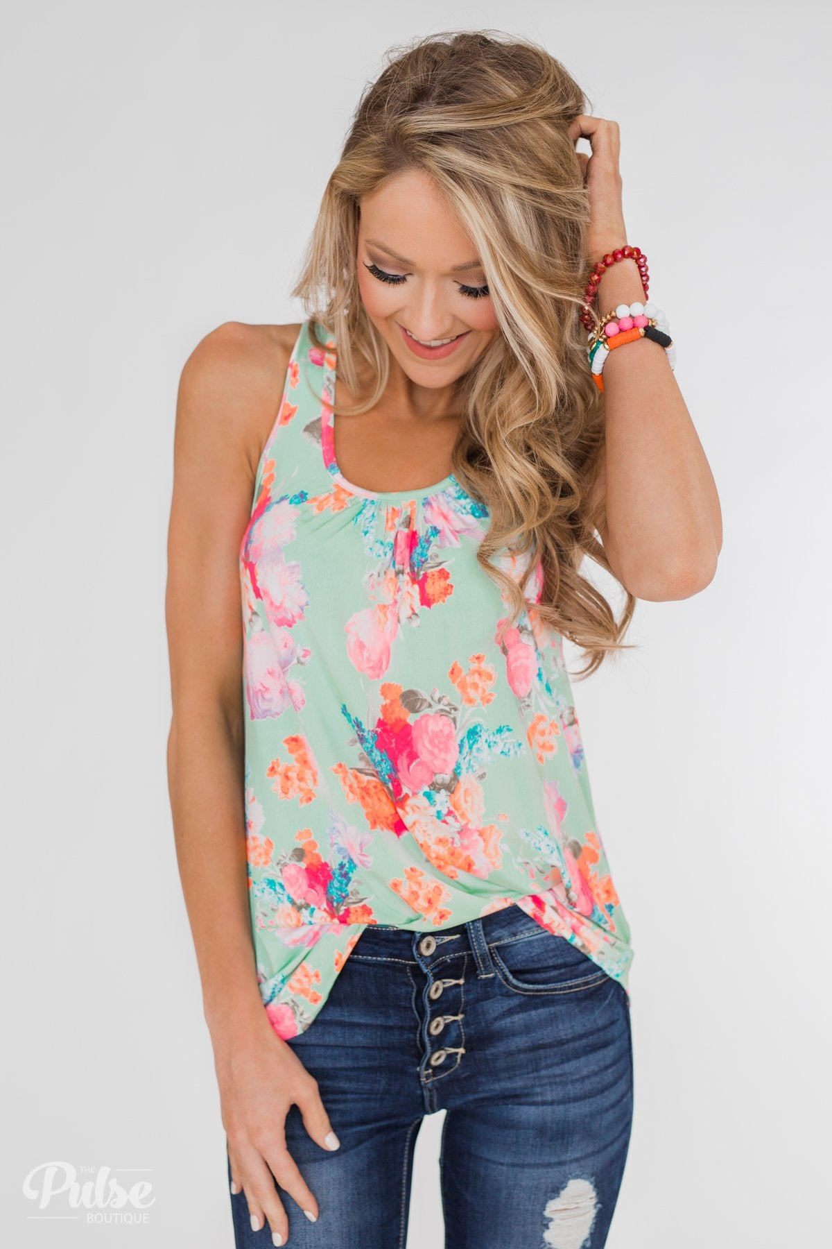 A Coral Floral Summer Tank- Mint