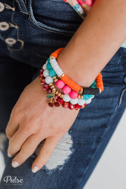Hint of Cherry Beaded Bracelet Set- Multi-Colored