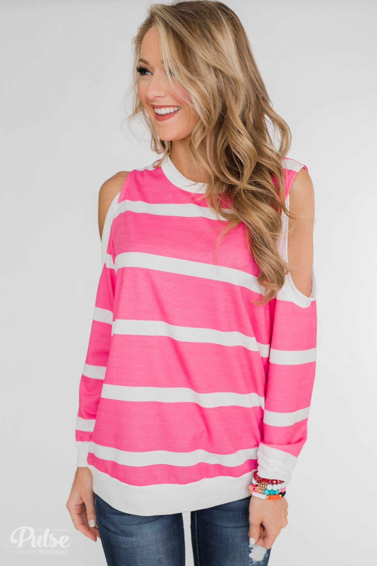 Light Up My World Striped Cold Shoulder Top- Hot Pink