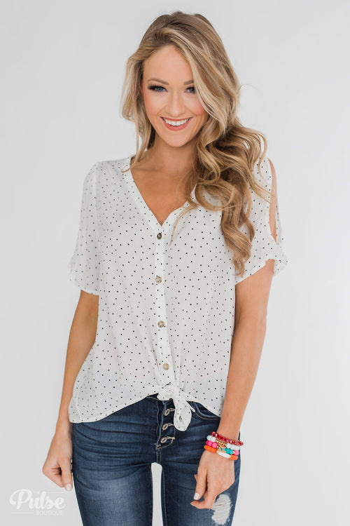 Life in Polka Dots Cold Shoulder Blouse- White