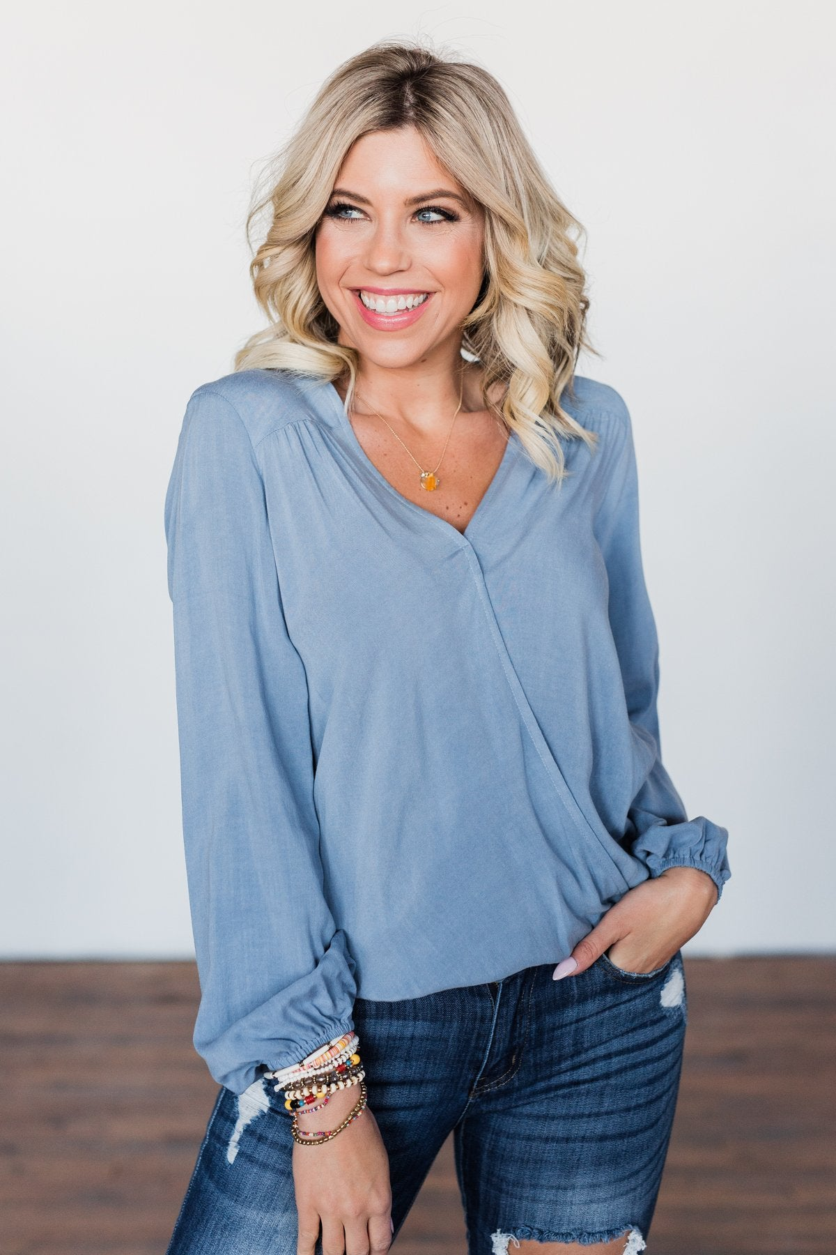 Love Will Find You V-Neck Wrap Top- Denim Blue