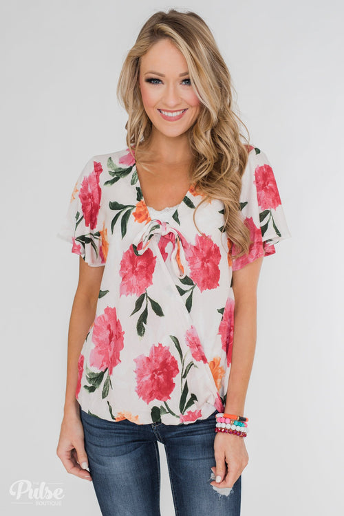 Spring is in the Air Floral Front Tie & Wrap Blouse- Blush
