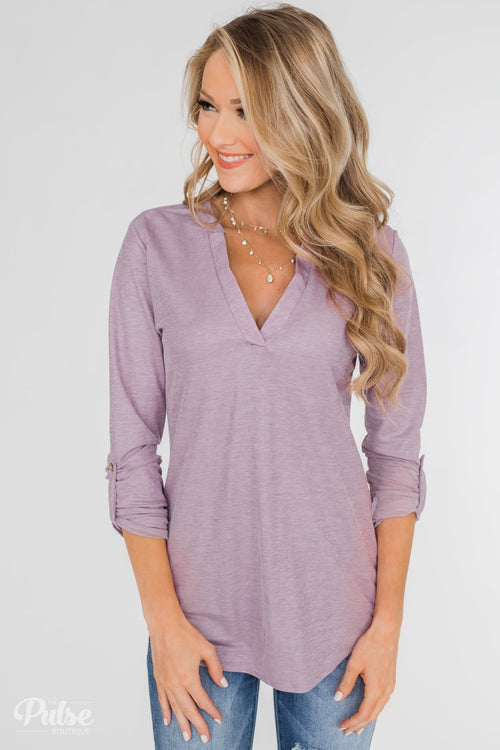 Always Be True V-Neck Top - Purple