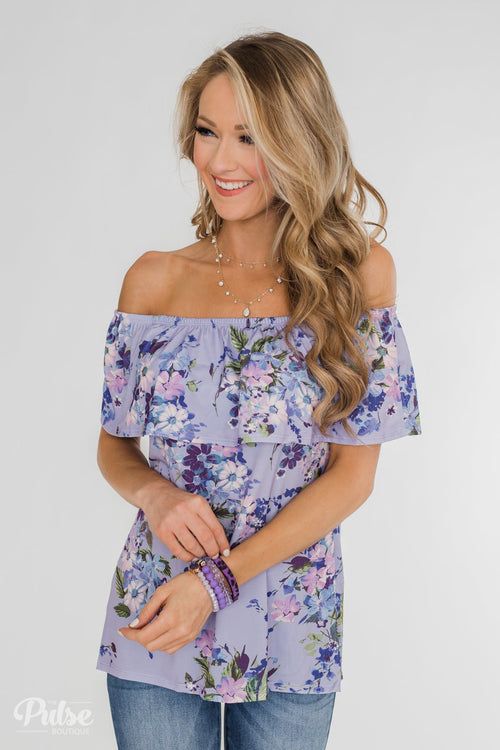 Grow With Me Off the Shoulder Floral Top- Light Violet