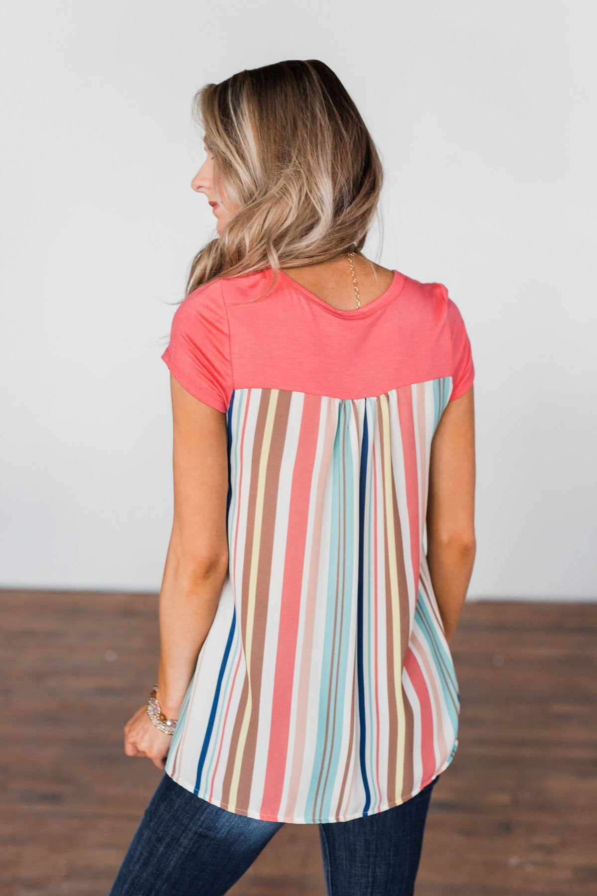 Days Like This Striped Back Top- Coral