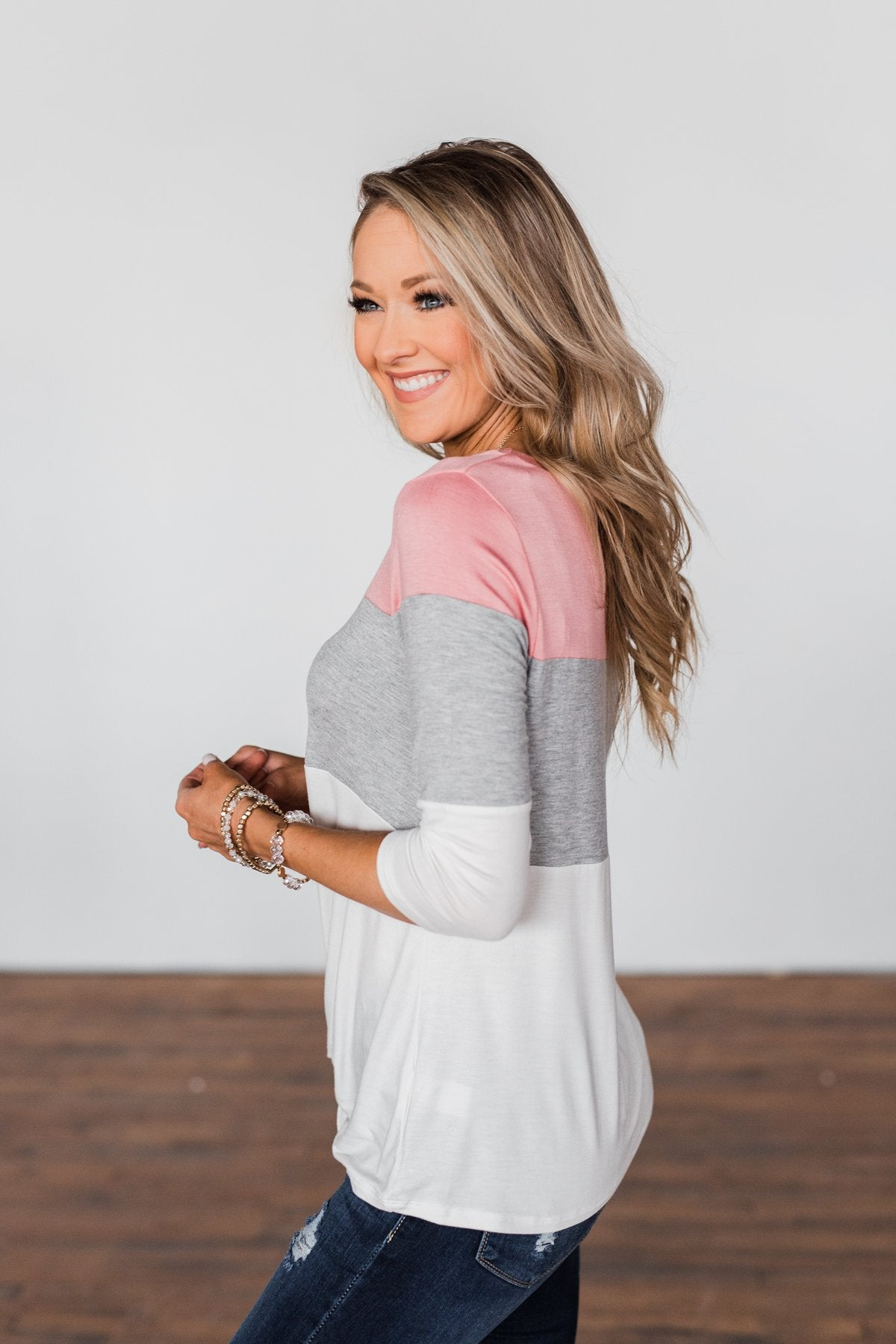 Take It Away Color Block Top- Pink, Grey, Ivory