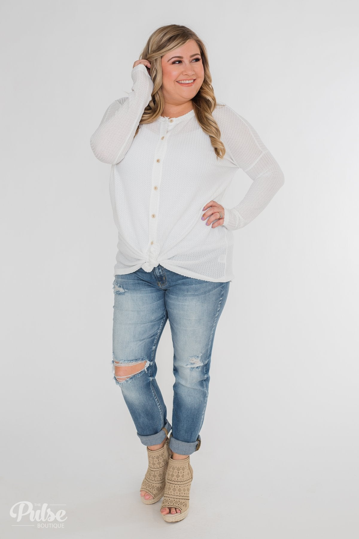 Long Sleeve Button-Up Thermal Top- White