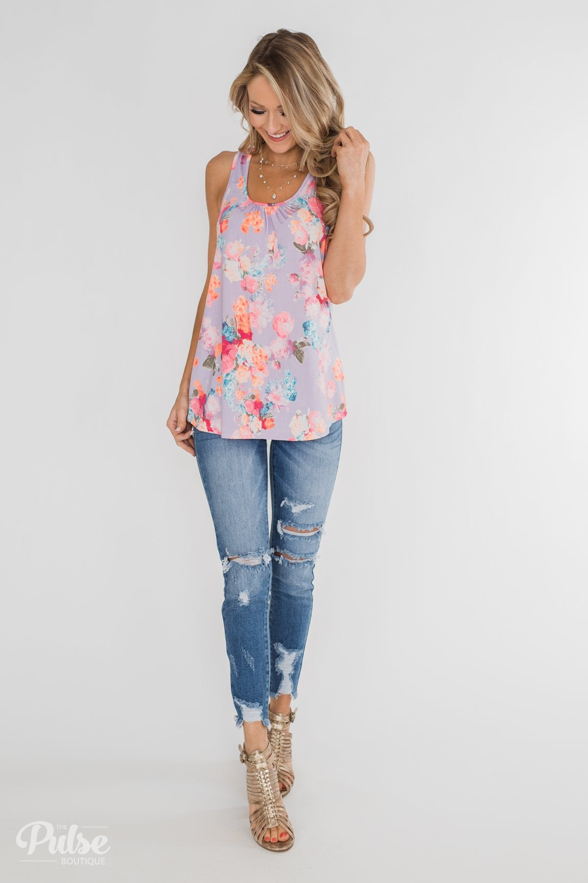 A Coral Floral Summer Tank - Lilac