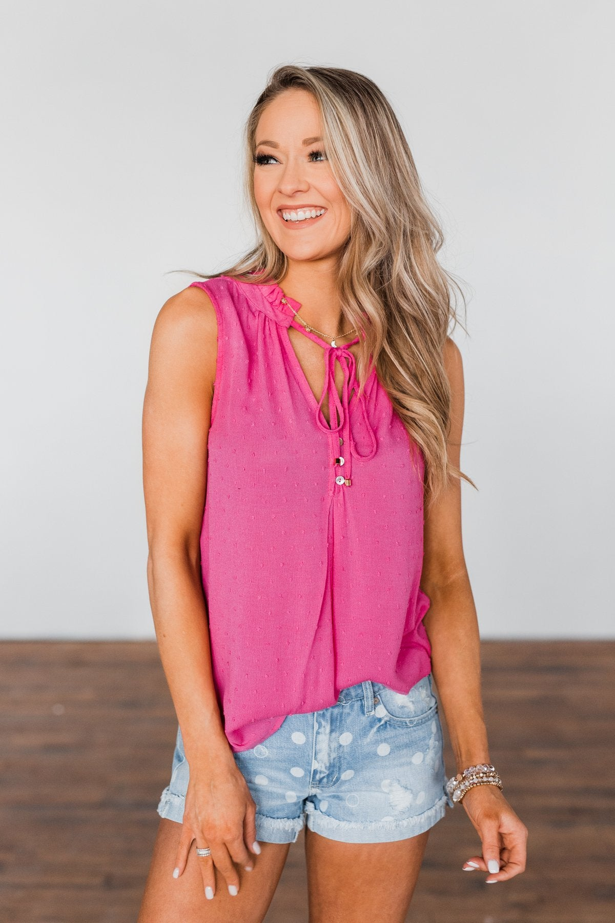 Tell My Story Neck Tie Tank Top- Hot Pink