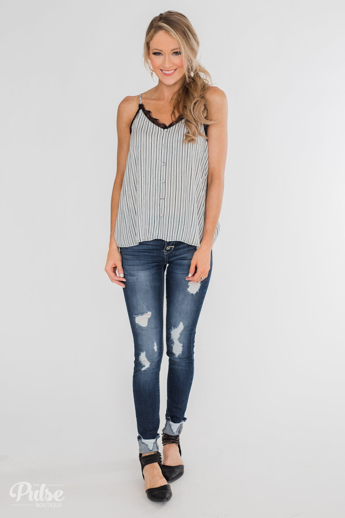 Add A Touch of Lace Striped Tank Top- Black & White