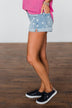 KanCan Light Wash Polka Dot Shorts