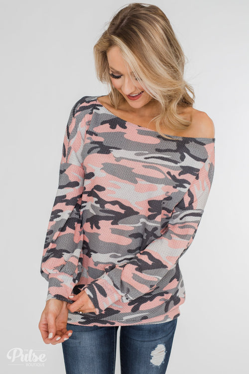 Thermal Camo One Shoulder Top- Pink