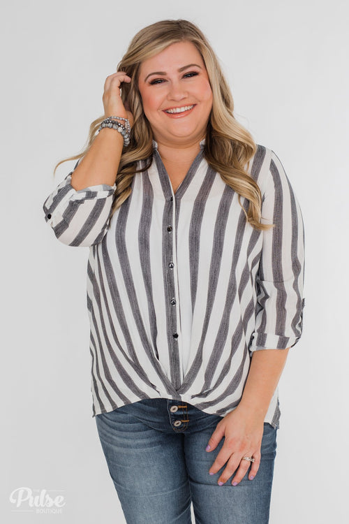 New Way Of Thinking Striped Blouse- Grey & White