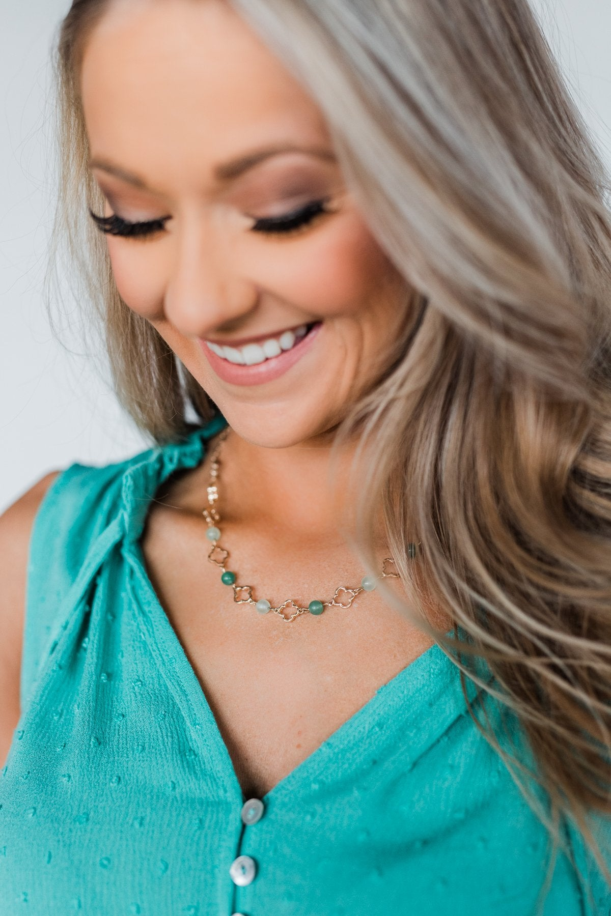 Clover Chain Necklace- Shades of Green
